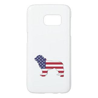 """Newfoundland Dog - """"American Flag"""" Samsung Galaxy S7 Case"""
