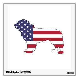 """Newfoundland Dog - """"American Flag"""" Wall Decal"""