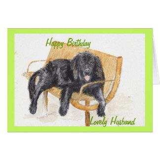 Newfoundland Dog Happy birthday husband. Greeting Card