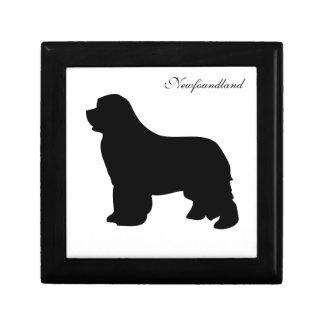 Newfoundland dog jewelry box, black silhouette jewelry box