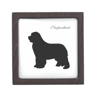 Newfoundland dog jewelry box, black silhouette premium gift boxes