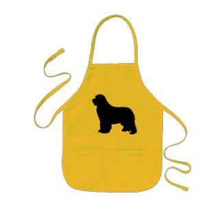 Newfoundland dog kids apron, black silhouette gift kids apron