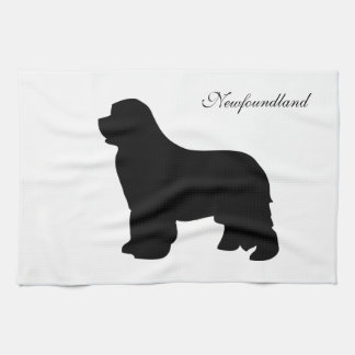 Newfoundland dog kitchen towel, black silhouette kitchen towel