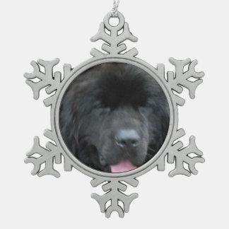 Newfoundland Dog Snowflake Pewter Christmas Ornament