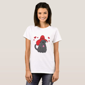 Newfoundland Dog with Fancy Red Hat T-Shirt