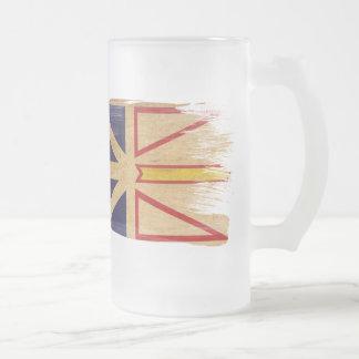 Newfoundland Flag Frosted Glass Beer Mug