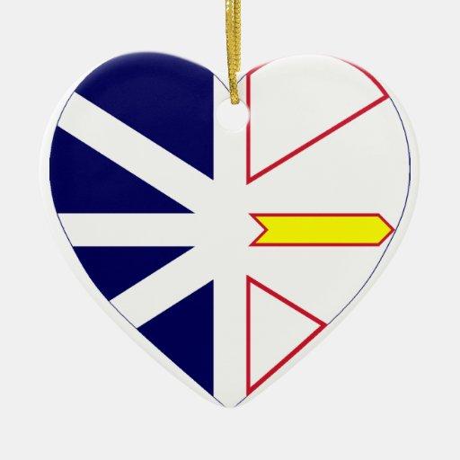 Newfoundland Flag Heart Christmas Ornaments