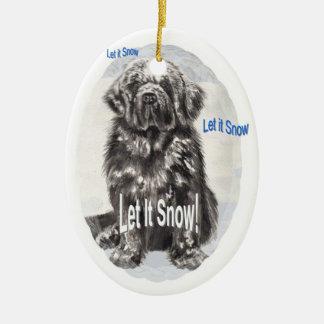 "Newfoundland ""Let It Snow"" Ceramic Ornament"