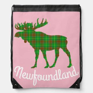 Newfoundland moose Tartan Travel drawstring Bag