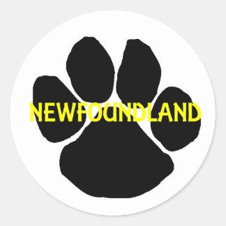 newfoundland name paw.png classic round sticker