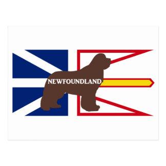 Newfoundland name silo on flag brown postcard