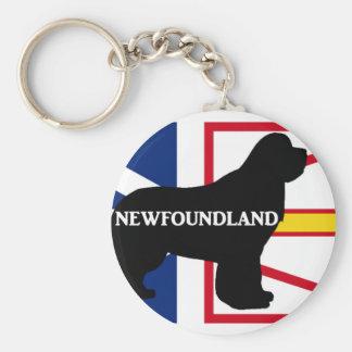 Newfoundland name silo on flag.png basic round button keychain