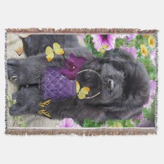 Newfoundland Puppy And Butterflies Throw Blanket