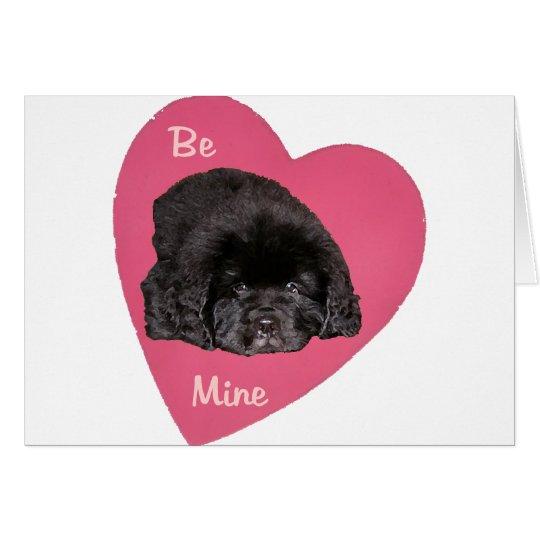 Newfoundland Puppy Dog Love Heart Card