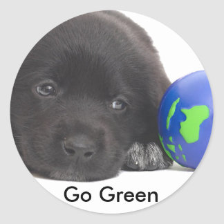 Newfoundland Puppy With Earth Classic Round Sticker