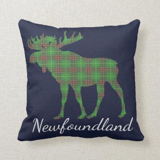 Newfoundland Tartan Custom Moose blue pillow