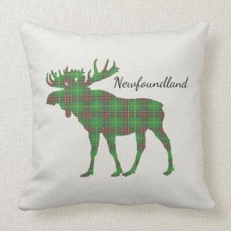 Newfoundland Tartan Custom Moose green pillow