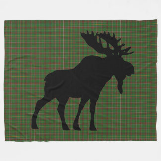 NewfoundLand Tartan Custom Moose green Plaid Fleece Blanket