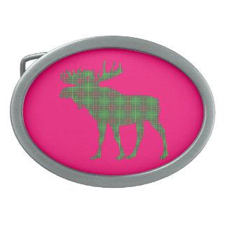 Newfoundland tartan moose belt buckle pink