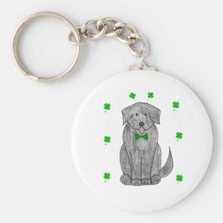Newfounland Black Saint Patricks Day Basic Round Button Keychain