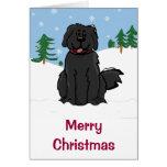 Newfy in Snow Christmas Card