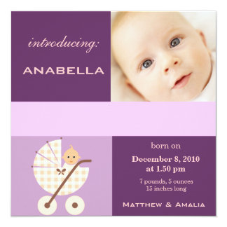 "Newly Born Baby Girl 5.25"" Square Invitation Card"