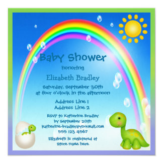 Newly Hatched Dinosaur Rainbow Baby Shower Card