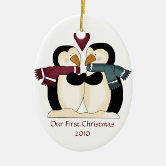 Newly Wed Penguins Ornament