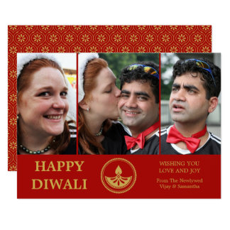 Newlywed Diwali Photo Greeting Card - Custom