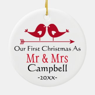 Newlywed Holiday Ornament- Christmas - LoveBirds Ceramic Ornament