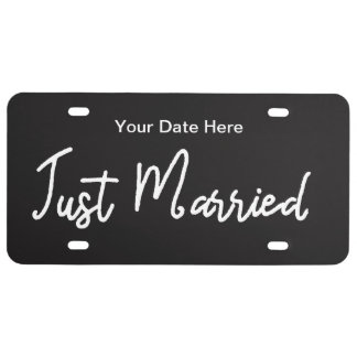 Newlywed Just Married Auto License Tag License Plate