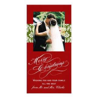 Newlywed Merry Christmas Photo Cards Green Damask