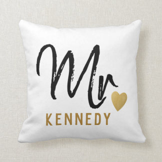 Newlywed Mr.Groom Black White Gold Wedding Throw Pillow