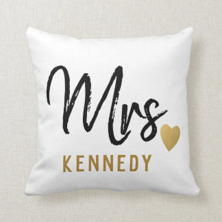 Newlywed Mrs.Bride Black White Gold Wedding Throw Pillow