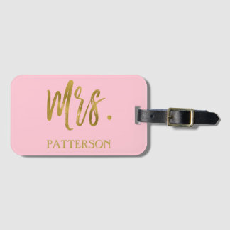 Newlywed Mrs. Last Name Luggage Bag Tag