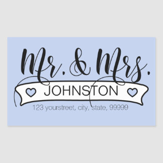 Newlywed Name White Banner Sticker