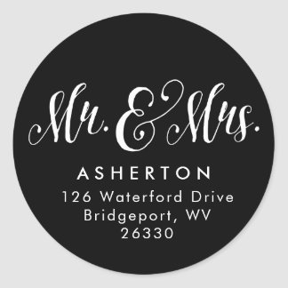 Newlywed return address sticker