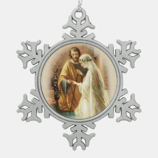 Newlywed St. Joseph Mary Wedding Snowflake Pewter Christmas Ornament