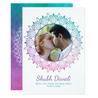 Newlywed Watercolor Diwali Photo Greeting Card