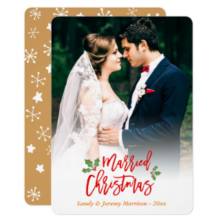 "Newlyweds Just Married First Christmas Photo 5"" X 7"" Invitation Card"