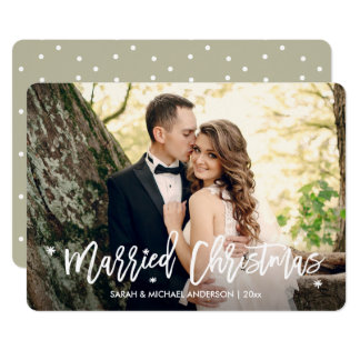 Newlyweds Married Christmas Overlay Script Photo Card