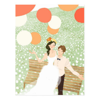 Newlyweds on a Garden Branch Post Cards