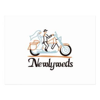 Newlyweds on Motorbike Postcard