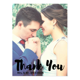 Newlyweds photo thank you postcard