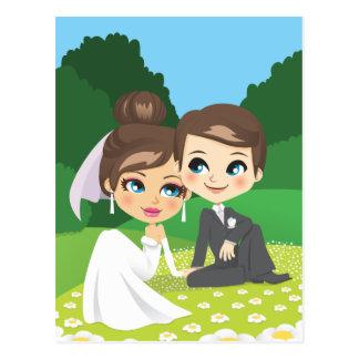 Newlyweds Sitting on Garden. Postcard