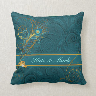 Newlyweds Teal Peacock and Gold Throw Pillow