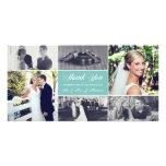 Newlyweds Thank You Photo Card Light Turquoise