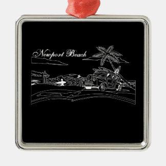 Newport Beach Surf Culture Silver-Colored Square Ornament