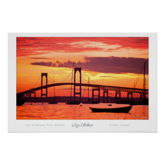 Newport Bridge at Sunset Poster