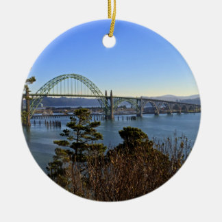 Newport Bridge over Yaquina Bay Ceramic Ornament